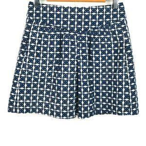 Mod Print Textured A-Line Pleated Mini Skirt